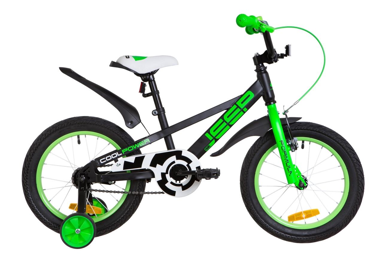 """Детский велосипед 16"""" Formula JEEP 2019 (черно-салатный (м))"""