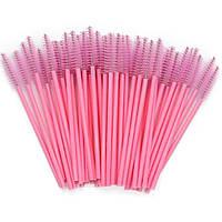 Щеточки для расчесывания ресниц розовые с розовой ручкой, 50 шт. в упаковке