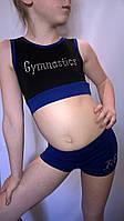Топ для гимнастики,танцев,хореографии чёрный х/б с эластаном с синей окантовкой и синей притачной резинкой