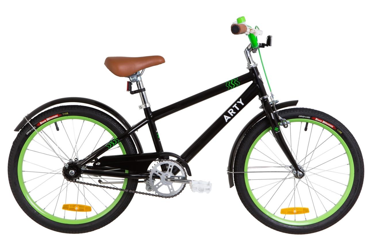 """Детский велосипед 20"""" Dorozhnik ARTY 2019 (черно-салатный)"""