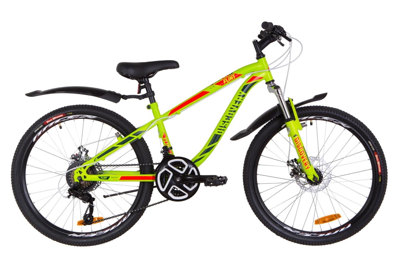 """Велосипед подростковый 24"""" Discovery FLINT AM DD 2019 (зелено-красный (м))"""