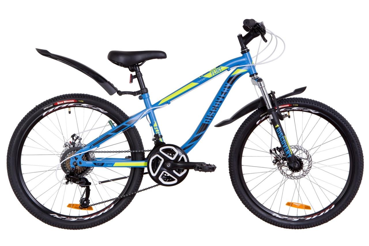"""Велосипед подростковый 24"""" Discovery FLINT AM DD 2019 (синий с зеленым (м))"""