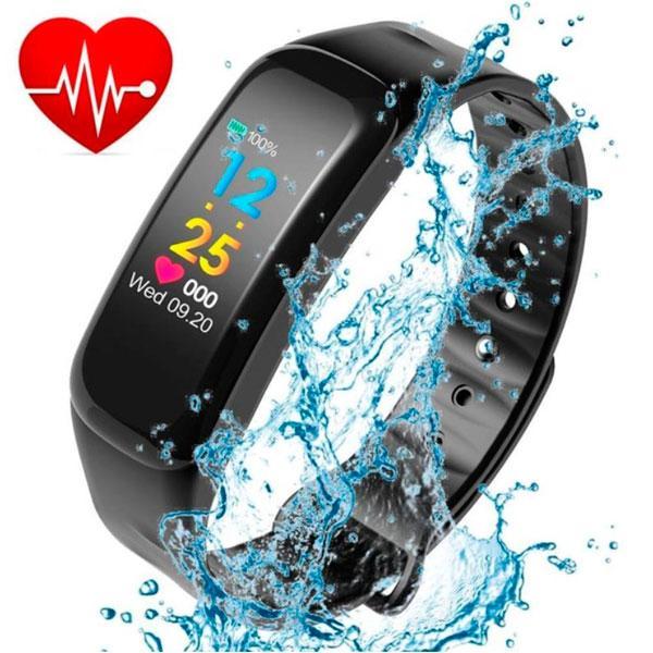 UWatch Умные часы Smart Maxi Water Black с пульсометром, фото 1