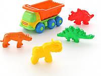 """Набор №572: """"Кеша"""", автомобиль-самосвал + формочки (тигр + мамонт + динозавр №1 + динозавр №2) Полесье, 57846"""