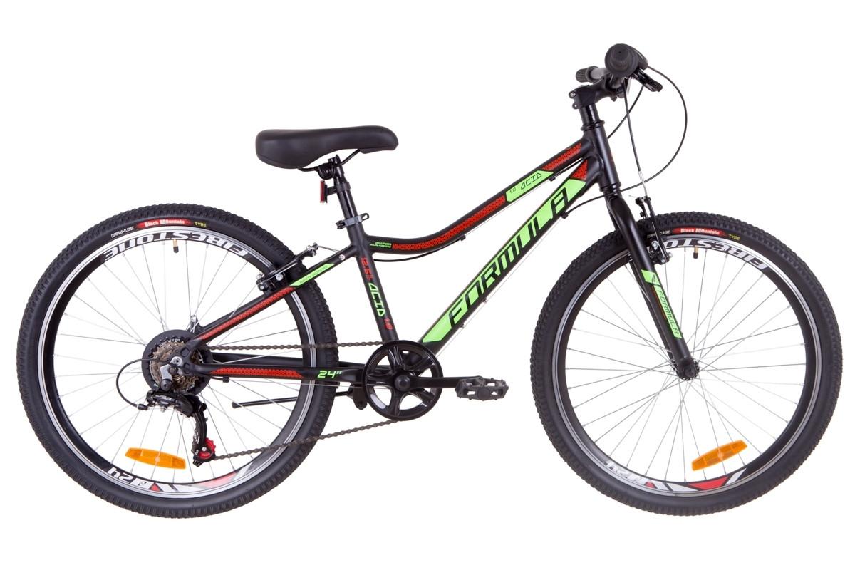 """Горный велосипед Горный велосипед 24"""" Formula ACID 1.0 rigid 2019 (черно-зеленый с красным (м))"""