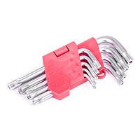 Набор Г-образных ключей TORX с отверстием 9 шт., Т10-Т50, Cr-V INTERTOOL (HT-0604)