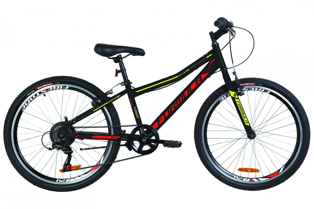 """Горный велосипед 24"""" Formula FOREST RIGID 2019 (черно-красный с желтым)"""
