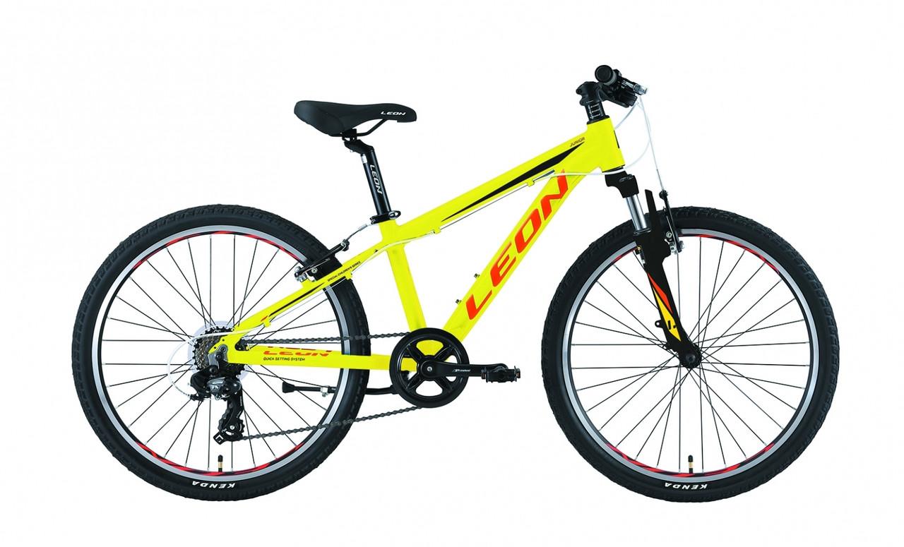 """Горный велосипед 24"""" Leon JUNIOR AM V-br 2019 (салатно-оранжевый)"""