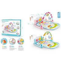 Коврик для младенца 9913A ,раз. 72-43,дуга,пианино-р/у,муз,св, MP3,микроф,тайм,2ц,бат,кор,47-37-9,5см