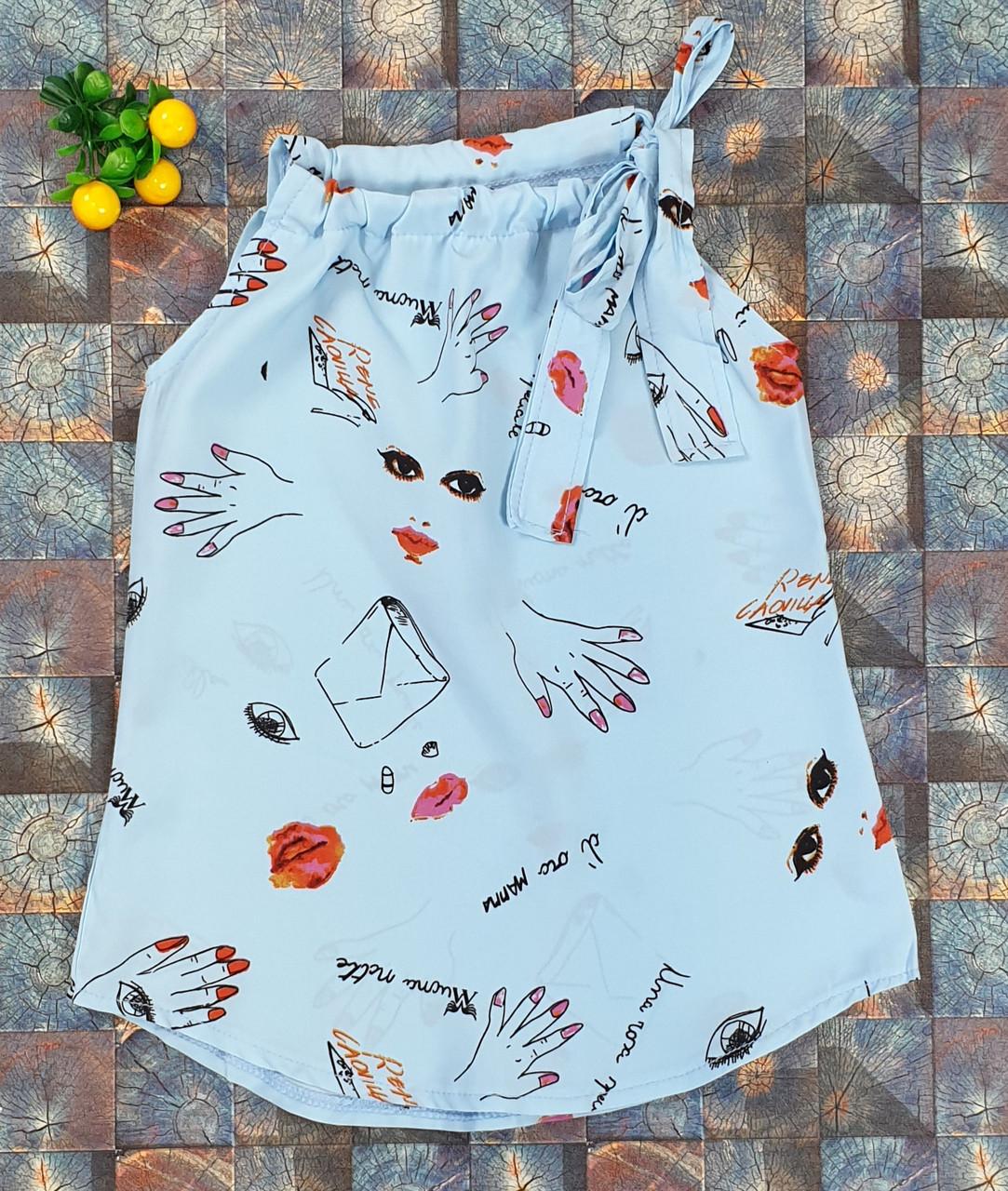 Летняя детская блузка Американка  116-134 голубая
