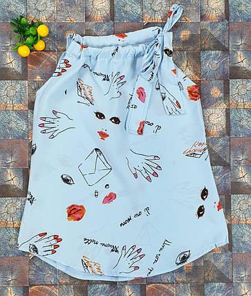 Летняя детская блузка Американка  116-134 голубая, фото 2