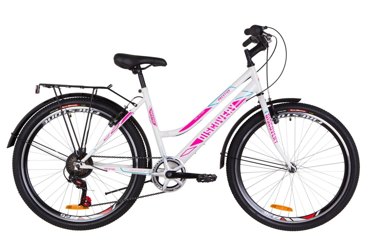 """Велосипед городской 26"""" Discovery PRESTIGE WOMAN  2019 (бело-малиновый с голубым)"""