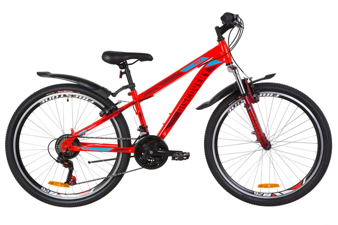 """Горный велосипед 26"""" Discovery TREK 2019 (красный акцент с синим)"""
