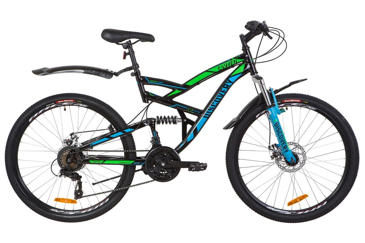 """Горный велосипед 26"""" Discovery CANYON DD 2019 (черно-синий с зеленым)"""