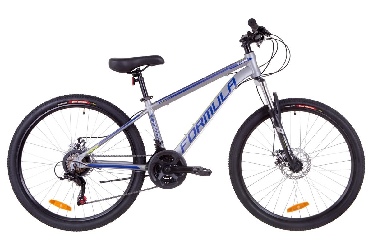 """Горный велосипед 26"""" Formula THOR 1.0 DD 2019 (серо-синий с салатным (м))"""