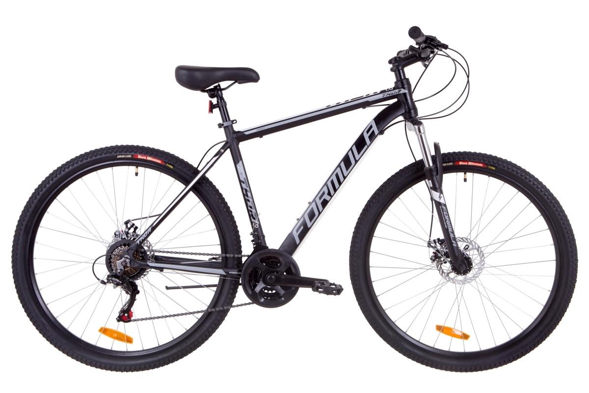"""Горный велосипед 29"""" Formula THOR 1.0 DD 2019 (черно-серый с белым (м))"""