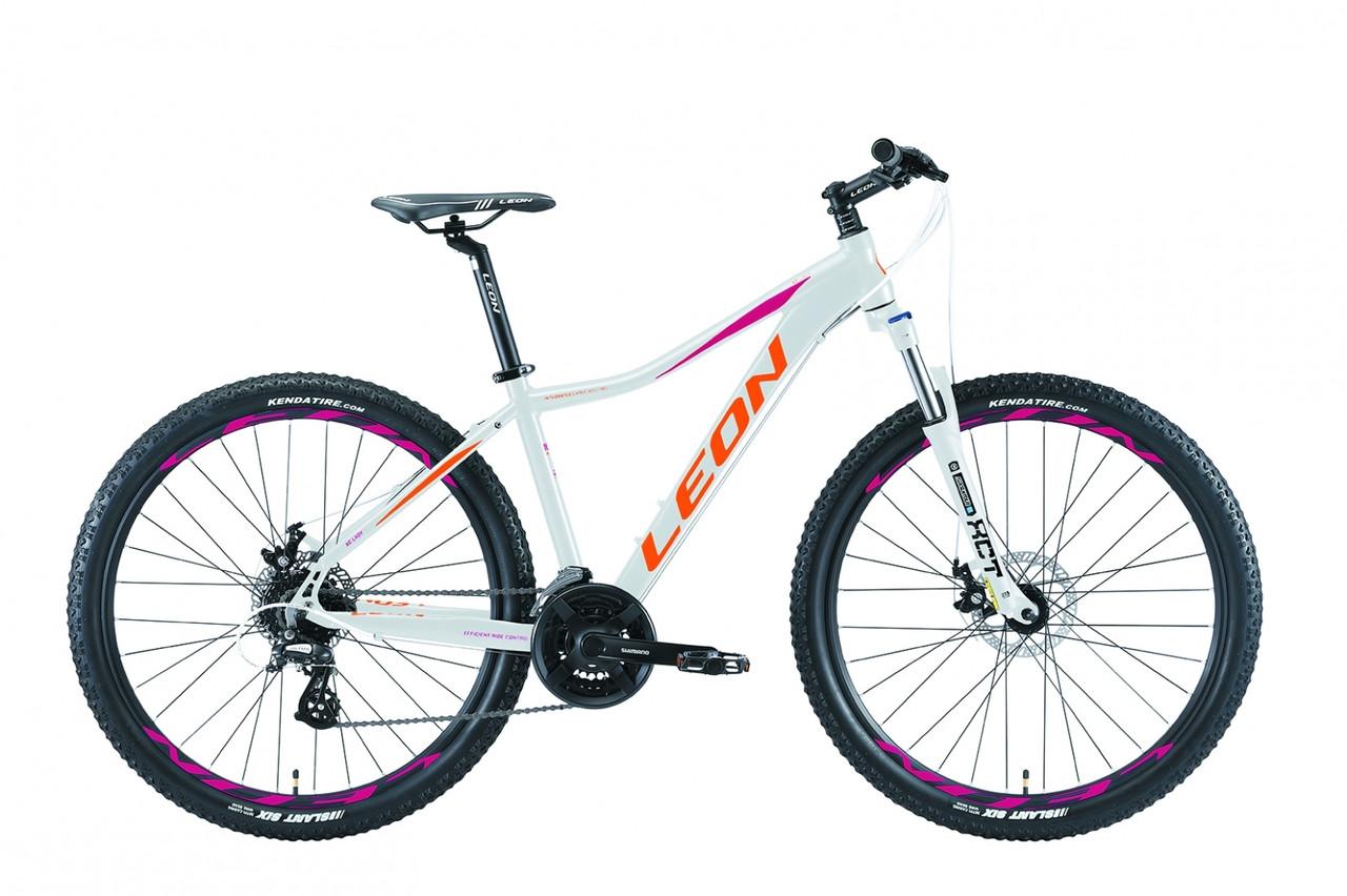 """Горный велосипед 27.5"""" Leon XC LADY DD 2019 (бело-оранжевый с малиновым)"""