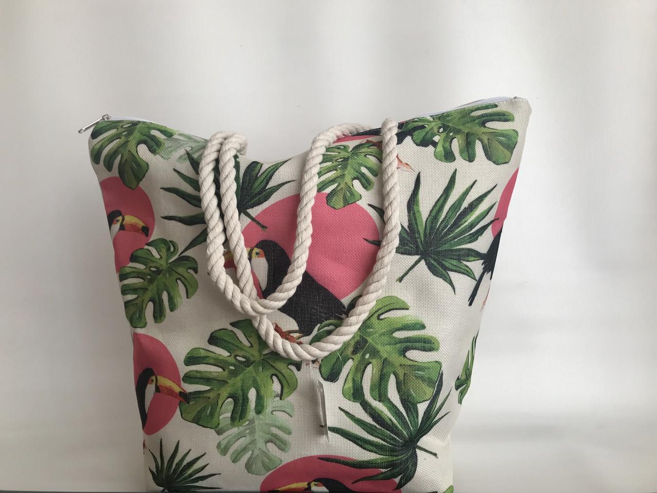 Женская летняя льняная пляжная сумка