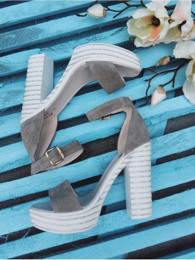 Босоножки на высоком каблуке из натуральной замши серого цвета DEFIANCE GREY SUEDE