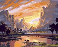 Картина по номерам DIY Babylon Закат над горной долиной (VP652) 40 х 50 см