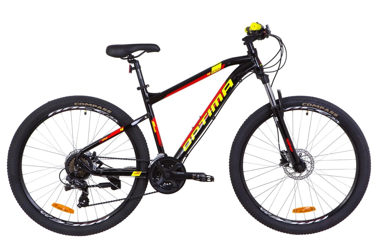"""Горный велосипед 27.5"""" Optimabikes F-1 HDD 2019 (черно-красный с желтым)"""