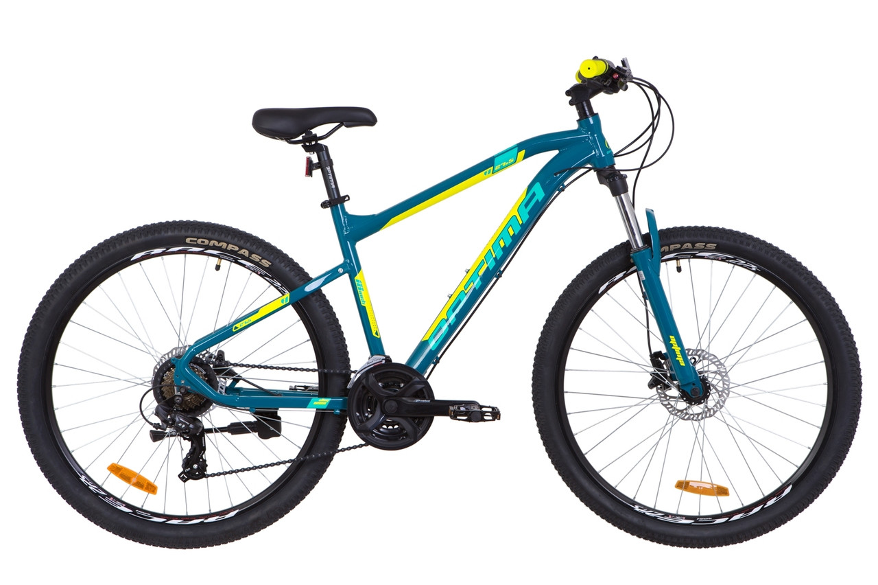 """Горный велосипед 27.5"""" Optimabikes F-1 HDD 2019 (бирюзово-желтый)"""
