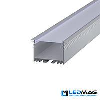 LED профиль для светодиодной ленты врезной LSV-40 алюминиевый с рассеивателем (2м, 3м, 4м, 6м) 54(44)x30 мм