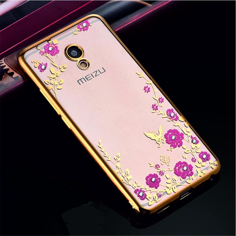 Гламурний розкішний силіконовий чохол для Meizu M5 Note Gold з камінням