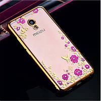 Гламурный роскошный силиконовый чехол для Meizu M5 Note Gold с камнями