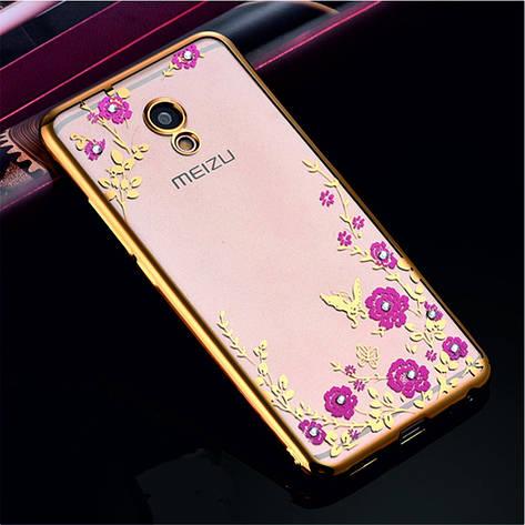 Гламурний розкішний силіконовий чохол для Meizu M5 Note Gold з камінням, фото 2
