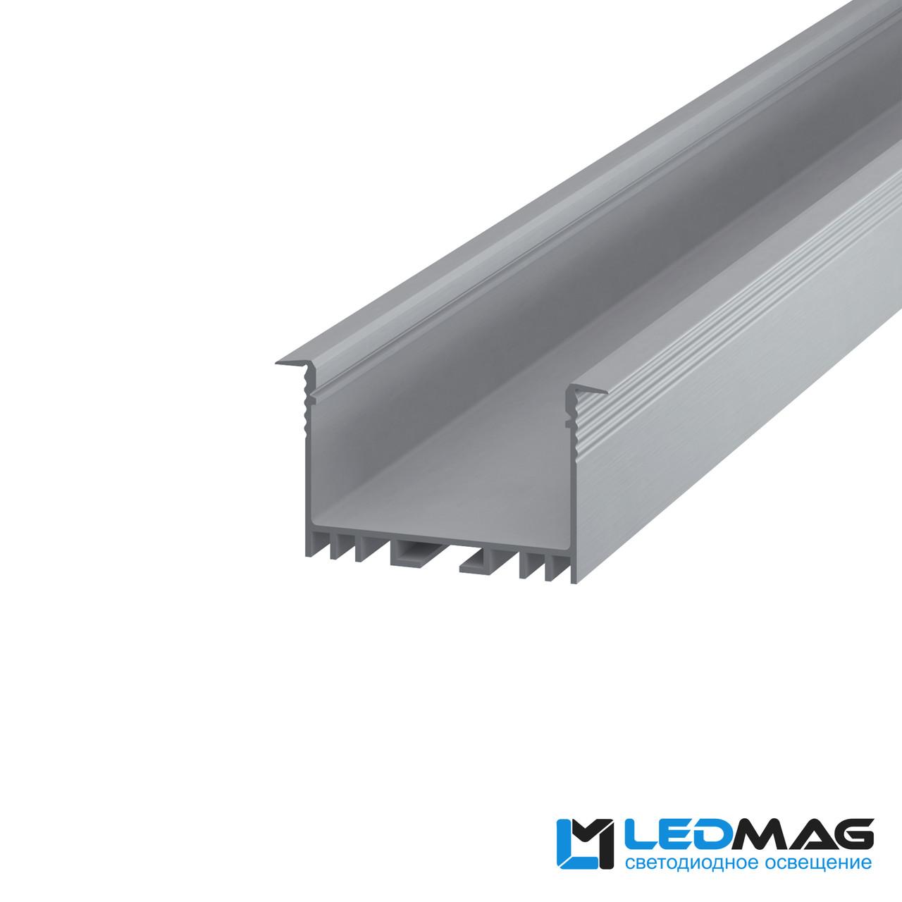 Профиль для светодиодной ленты врезной LSV-40 алюминиевый (2м, 3м, 5м) 54(44)x30 мм