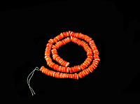 Заготовка из  коралла оранжевого-розовый рондель 7мм, фото 1