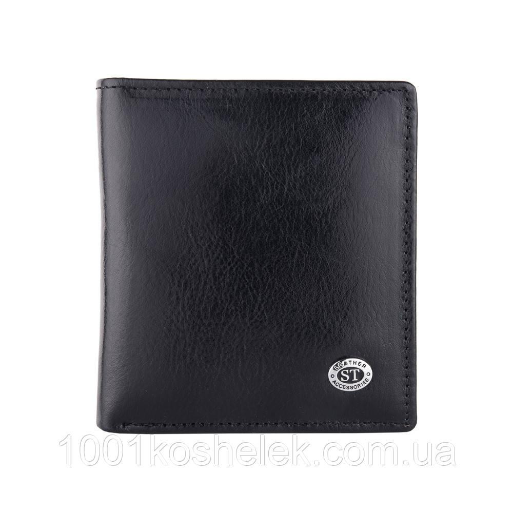 Мужской кожаный кошелек ST B-MS33 Black Глянец
