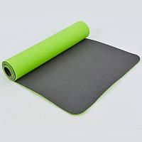Коврик для фитнеса и йоги TPE+TC 6мм двухслойный SP-Planeta 1,83мx0,61мx6мм Солатовый