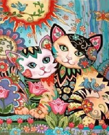Картина по номерам «Красочные котики» (30*40 см)