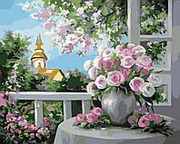 Холст с контуром по номерам без коробки Идейка Шарм цветущего сада (KHO2204) 40 х 50 см