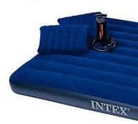 Двуспальный надувной матрас Intex 152х203х22см с насосом и двумя подушками (надувний матрац ИНТЕКС) СИНИЙ