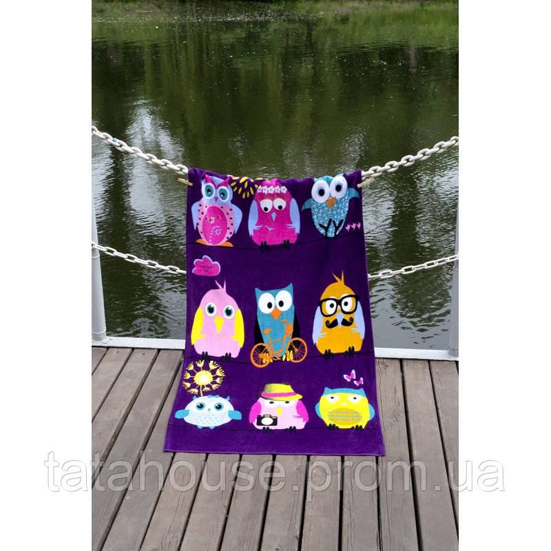 Полотенце Lotus пляжное - Owls Family 75*150 велюр