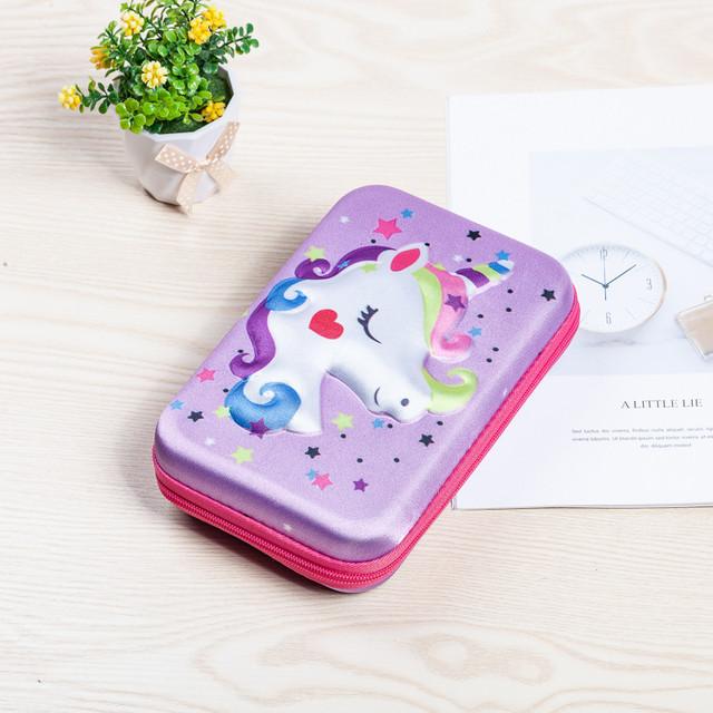 Каркасный пенал Единороги фиолетовый
