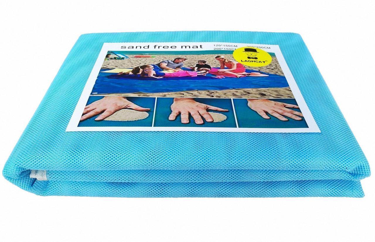 Пляжный коврик 200×200 подстилка антипесок Sand-free Mat Голубой