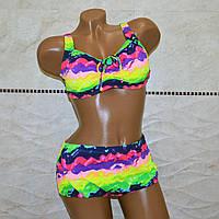 c826c91aa61a0 Большой размер 62, пляжный женский раздельный купальник для пышных  женщин,яркого окраса на шнуровке