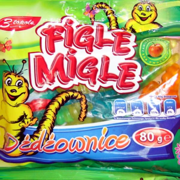 Венгерские Figle migle жевательные резиновые конфеты в виде червячков  80 г