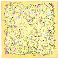"""Павлопосадский платок шелковый  шейный """"Купидоны"""" рис. 1255-2 (крепдешин) размер 52х52 см, фото 1"""