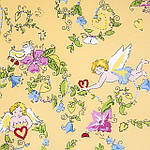 """Павлопосадский платок шелковый  шейный """"Купидоны"""" рис. 1255-2 (крепдешин) размер 52х52 см, фото 2"""