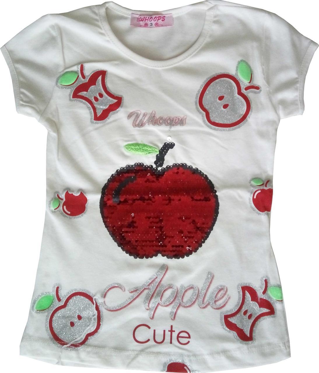 Детская футболка для девочек 2-5 лет, с пайетками