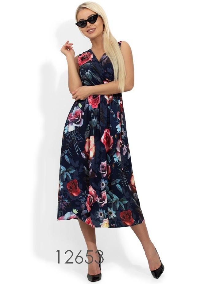 Платье миди на запах с цветочным принтом Д-1084