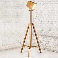 Торшер современный деревянный тренога в стиле лофт loft
