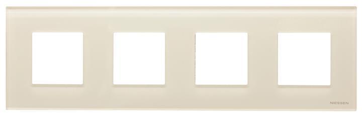 Рамка 4 постовая белое стекло N2274 CB, ZENIT