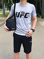 Костюм Футболка Серая + Шорты Черные.  Барсетка в подарок! UFC.Reebok ( Рибок)