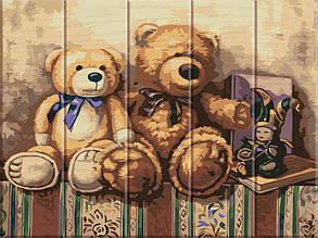 Картина по номерам по дереву Медвежата